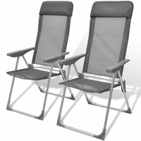 Foldable Adjustable Camping Chairs Aluminum Set of 2