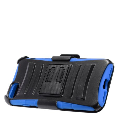 iPhone 7 Case, by Insten Advanced Armor Dual Layer [Shock Absorbing] Hybrid Stand Hard Plastic/Soft Silicone Case Cover Holster For Apple iPhone 7 (4.7 inch), Black/Blue - image 2 de 3