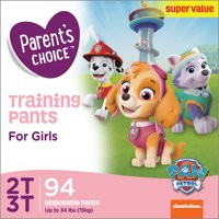 Parent's Choice Training Pants for Girls, Size 2T-3T (Choose Count)