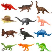 Animals Figure, 12 Piece 7'' Toys Set Plastic, Dinosaur Toys, Wild Animals Learning Toys and Party Favor Toys for Boys - Forest Dinosaurs Figures Playset for Kids