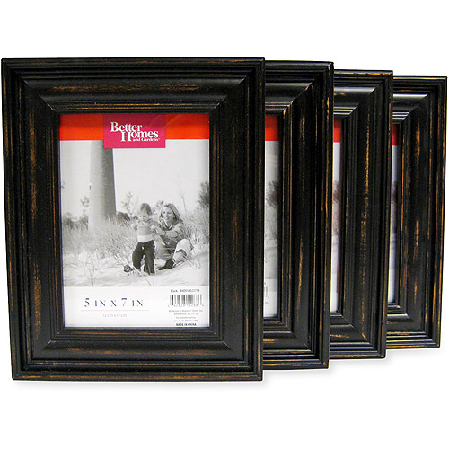Better Homes and Gardens Distressed Black Wood 5''x7'' Picture Frames, Set of 4 by Harbortown Industries