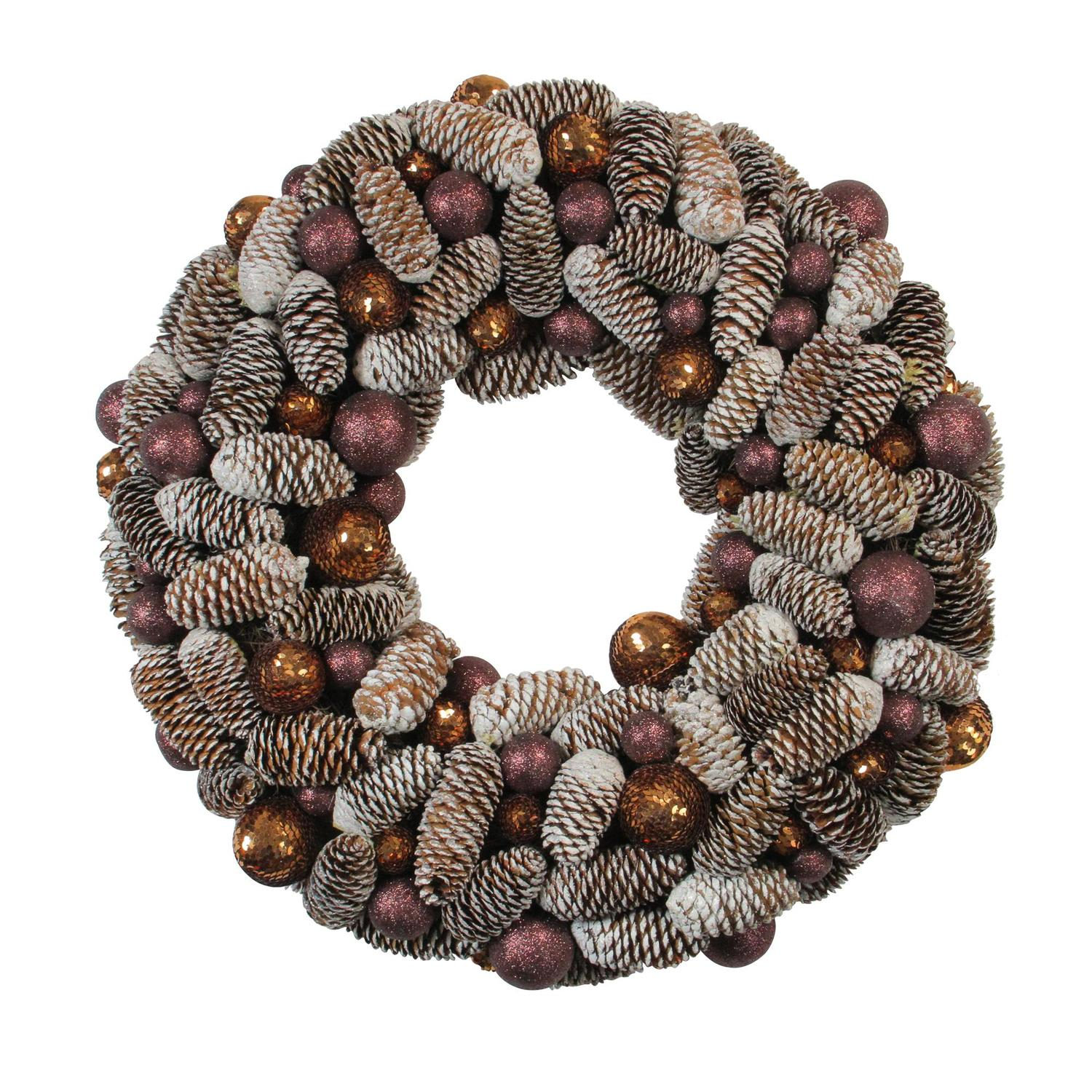 """21"""" Nature's Glow Frosted Pine Cone & Ball Ornament Artificial Christmas Wreath"""