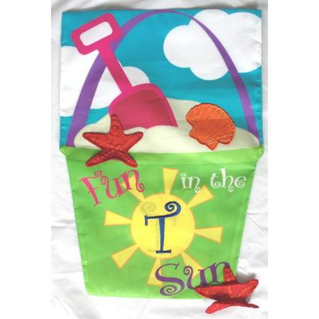 Monogram Applique (Fun in the Sun Beach Bucket Double-sided Applique Monogram Garden Flag)