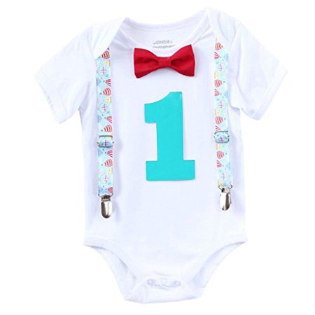 Noah's Boytique Hot Air Balloon Theme Baby Boys First Birthday Party Outfit Red Bow Turquoise Number One 6-12 (Ideas For 1st Birthday Party In December)