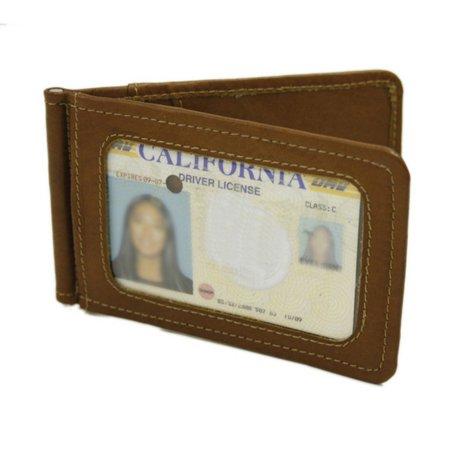 Piel Leather Bi-Fold Money Clip W/Id Window - Saddle