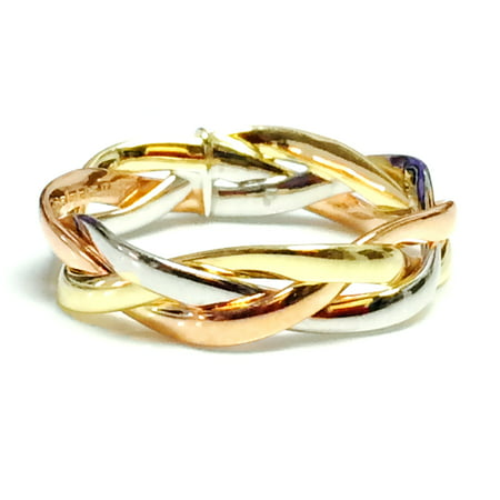 Intertwined Cuff (14K Tri-Color Gold Intertwined Braided Ring, 5mm )
