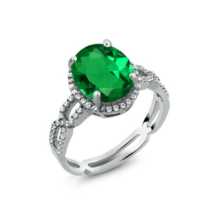 4.18 Ct Green Simulated Emerald White Created Sapphire 925 Sterling Silver - Created Green Sapphire Ring