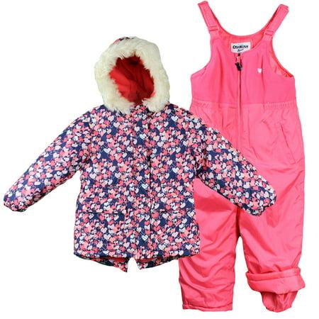 b24088c9d OshKosh Girls Winter Jacket and Snow Bib Overall Pants Heart Pink 4 ...