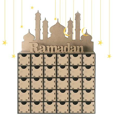 Wooden MDF Eid Ramadan Mubarak Advent Calendar DIY 30 Drawer Countdown Board Muslim Islamic Decorations (Mothers Day Decorations)