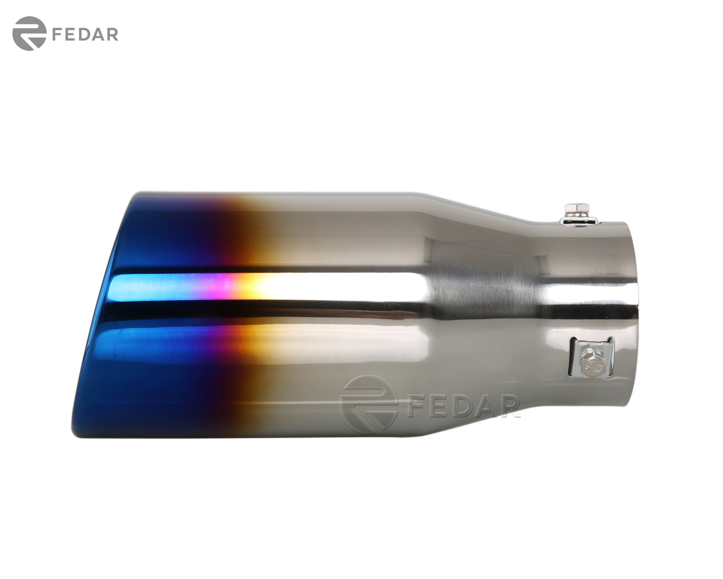 2.5 Inlet 3.4x3 Outlet 9.3 Long Dual Wall Rolled Flat End Exhaust Tip Tail Pipe