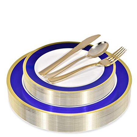 - Stock Your Home 125 Piece Place Setting- Blue & Gold Rim
