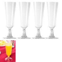 4Pc Wedding Plastic Wine Clear Champagne Flutes Disposable Glasses Cups 4.7oz