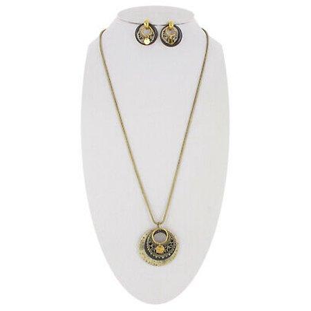 Long Boho Filigree Antiqued Gold Tone Pendant Necklace Pierced Earrings Set Gold Long Diamond Set