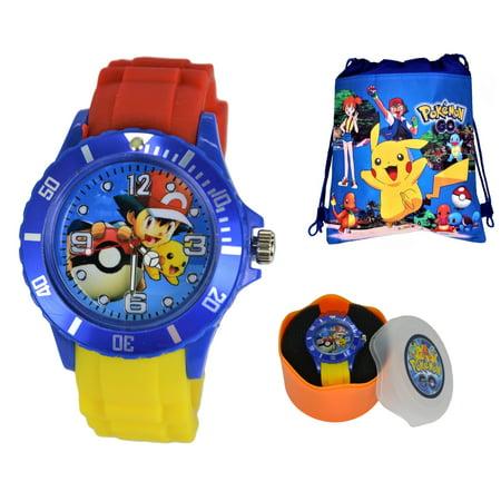 Pokemon Pikachu & Ash Silicone Quartz Analog Wrist Watch For Men Women Boys Girls.Fashion Large Modern Display.