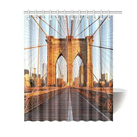 GCKG Brooklyn Bridge, New York Sunrise Polyester Fabric Shower Curtain Bathroom Sets Home Decor 60x72 Inches - image 3 of 3