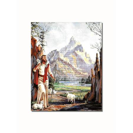 Latin Art - Hispanic Jesus Christ Lord in My Shepherd Religious Wall Picture 8x10 Art Print