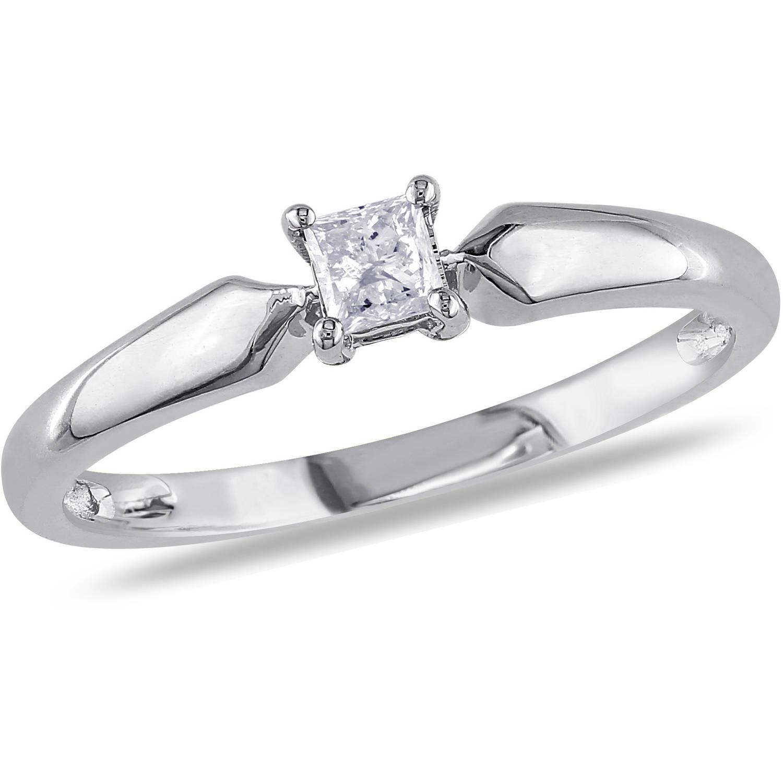 Miabella 1/5 Carat T.W. Princess Cut Diamond Solitaire Ring in 10kt White Gold