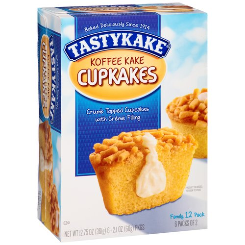 Tastykake Cream Filled Koffee Kake Cupcakes, 2.125 oz, 6 ct