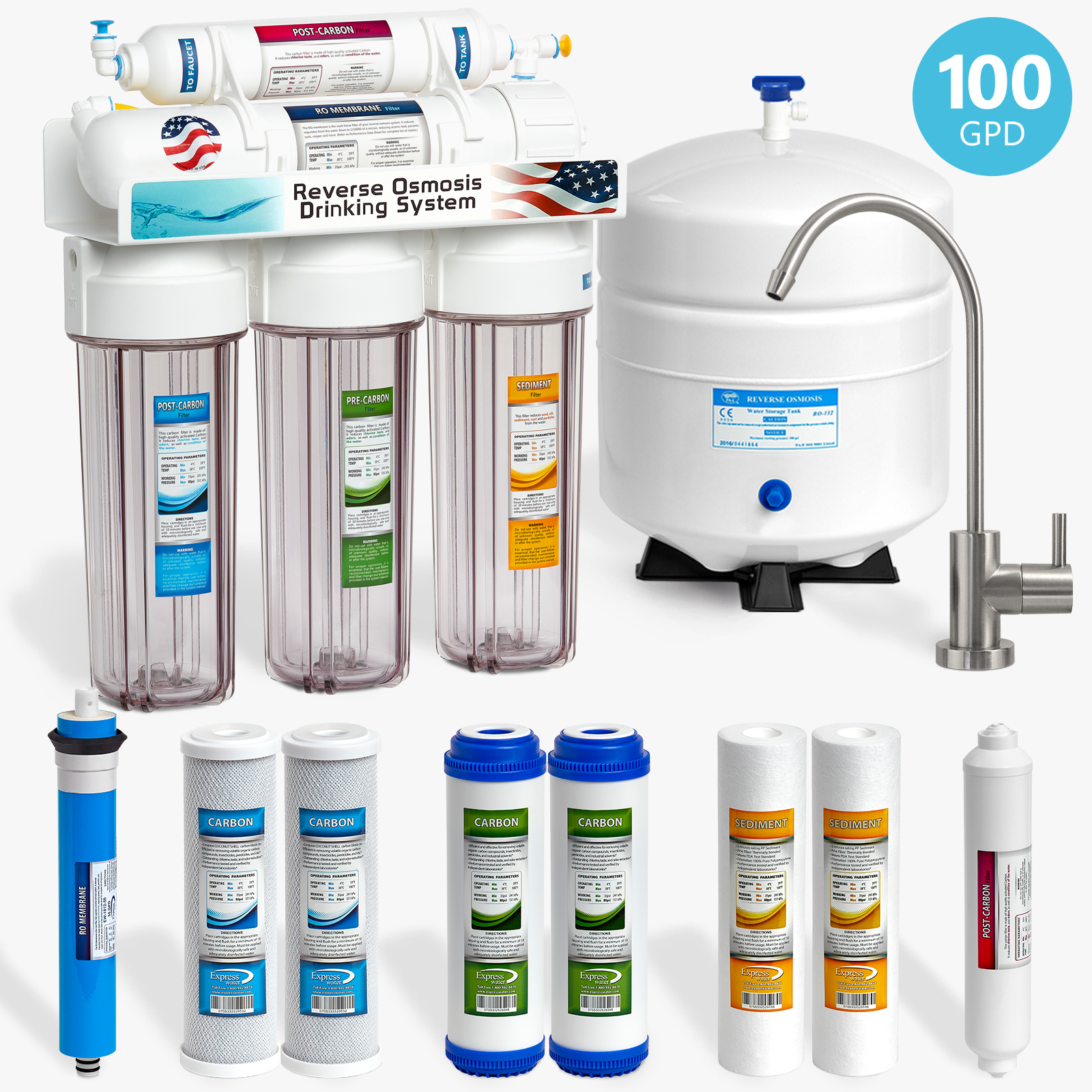 Express Water 5-Stage Under Sink Reverse Osmosis RO Drinking Water Filter System, Clear, 100 GPD, Brushed Nickel (Modern)
