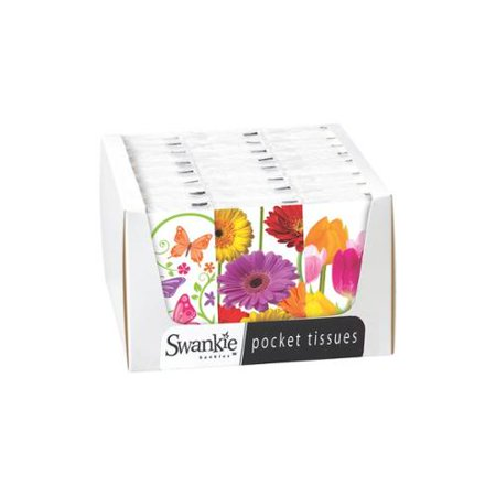 Club Pack of 24 Colorful Springtime Facial Pocket Tissue Swankies Display Box