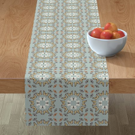 Image of Table Runner Butterfly Blue Womens Wear Retro Circles Nature Cotton Sateen