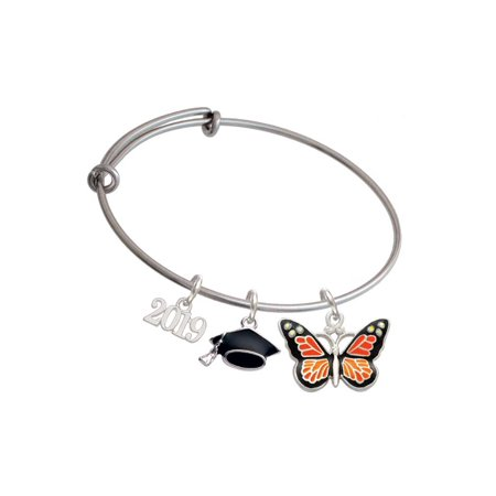 Silvertone Large Monarch Butterfly with 6 AB Crystals - 2019 Graduation Charm Bangle Bracelet