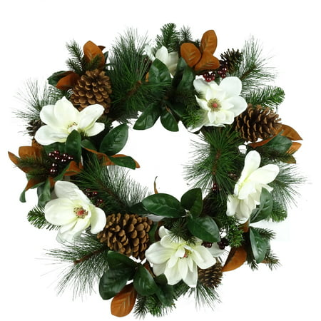 holiday time christmas decor 30 deluxe white magnolia decorated wreath - Magnolia Christmas Decor