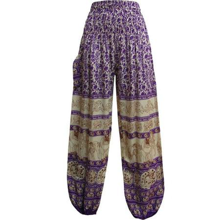 Indian Bohemian Gypsy Elephant WHITE Print Yoga Meditation Harem Pants (Purple)](White Toga)