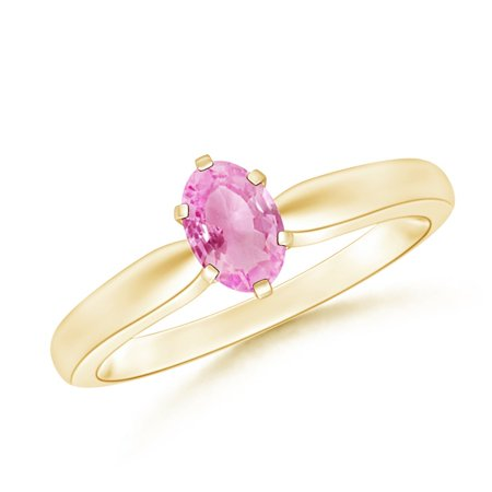 September Birthstone Ring - Tapered Shank Oval Solitaire Pink Sapphire Ring in 14K Yellow Gold (6x4mm Pink Sapphire) - SR0148PS-YG-A-6x4-7.5