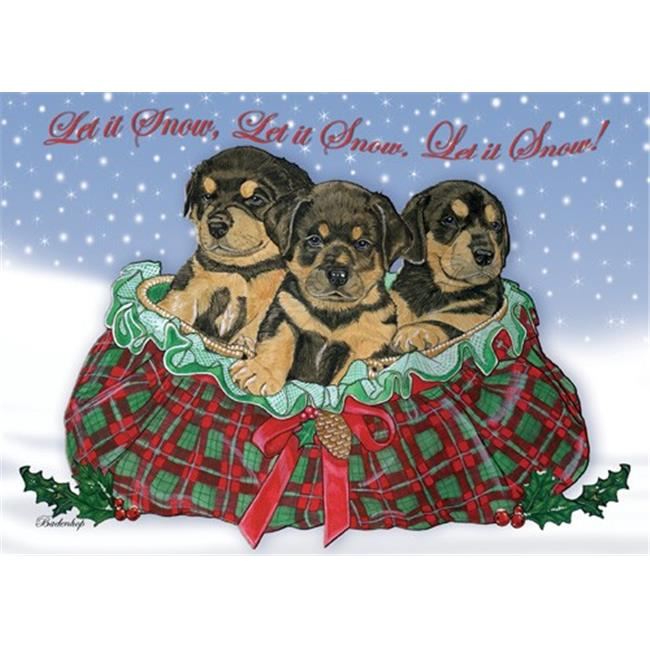 Pipsqueak Productions C491 Rottweiler Pups Christmas Boxed Cards - Pack of 10