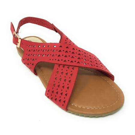 Victoria K Women's Perforated CrissCross Straps With Side Buckle Sandals