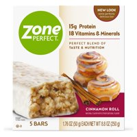 ZonePerfect Protein Bars, Cinnamon Roll, 15g of Protein, Nutrition Bars With Vitamins & Minerals, Great Taste Guaranteed, 5 Bars