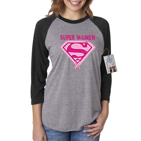 Breast Cancer Awareness Superwoman Womens 3/4 Raglan Sleeve T-Shirt Top](Superwoman Outfit For Adults)