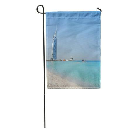 LADDKE Landscape View of Dubai Beach and Sea in Summer Famous Garden Flag Decorative Flag House Banner 12x18 inch ()