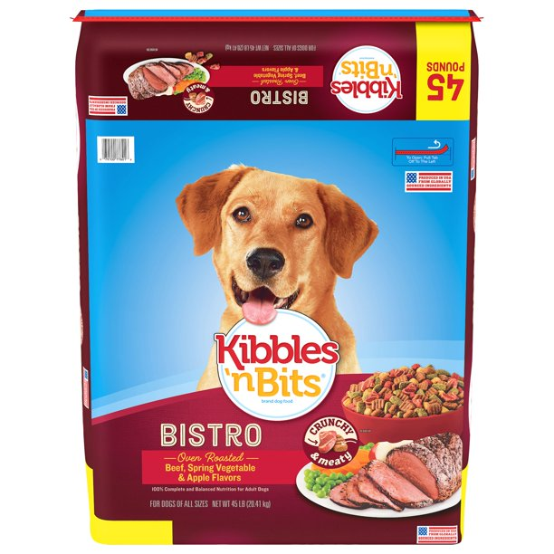 Kibbles 'N Bits Bistro Oven Roasted Beef, Spring Vegetable & Apple Flavor Dog Food, 45 lb Bag