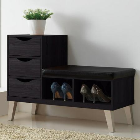 Baxton Studio Arielle Dark Brown Wood 3-Drawer Shoe Storage Bench