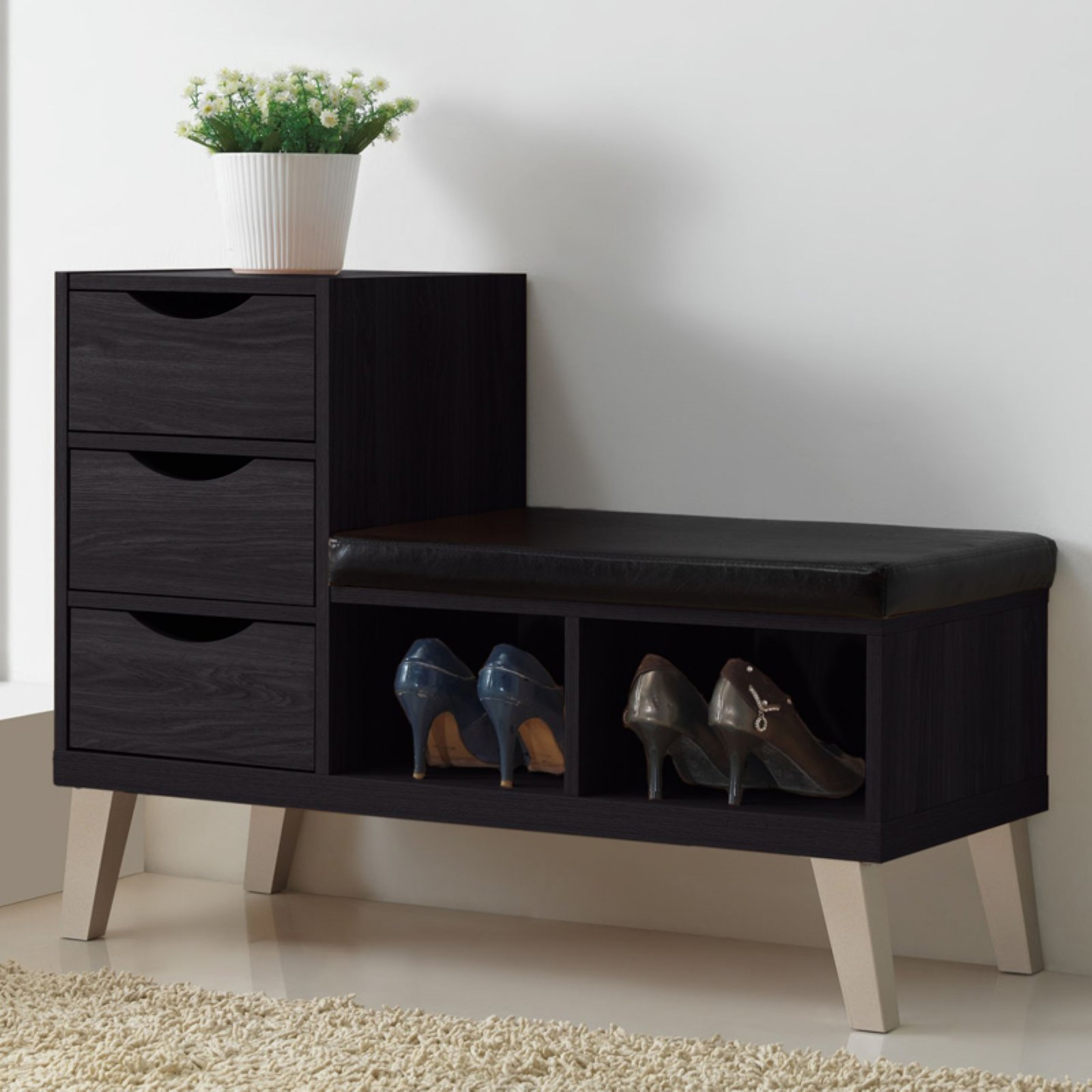 Baxton Studio Arielle Dark Brown Wood 3-Drawer Shoe Storage Bench