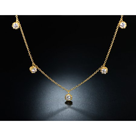 18K Gold Plated & Crystal Graduated Crown Necklace Made with Swarovski Elements
