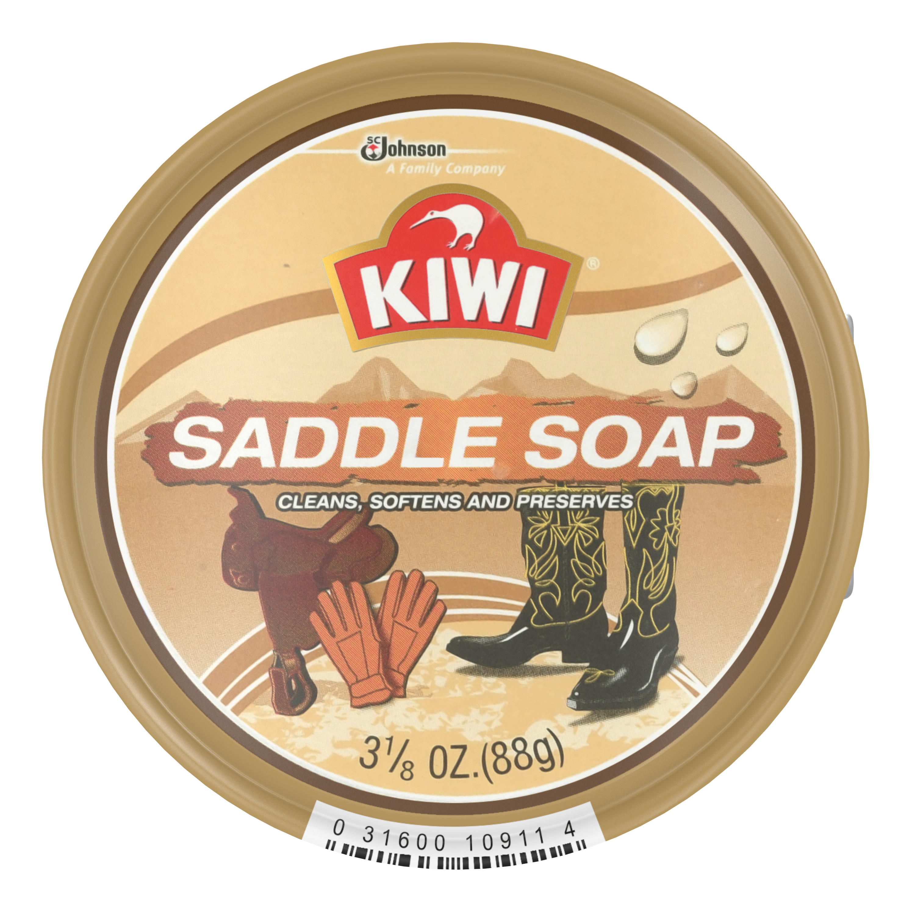KIWI Leather Outdoor Saddle Soap 3.125 Ounces