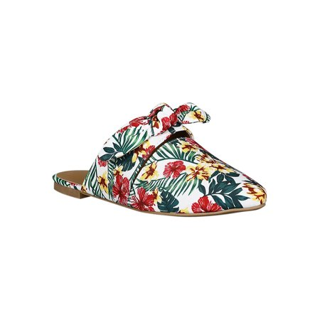 Women Canvas Printed Pointy Toe Cutout Bow Tie Mule Flat (Bow Mule)