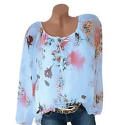 Women's Plus Size Floral Lace Up Blouse Tops Casual Tunic Loose T Shirts