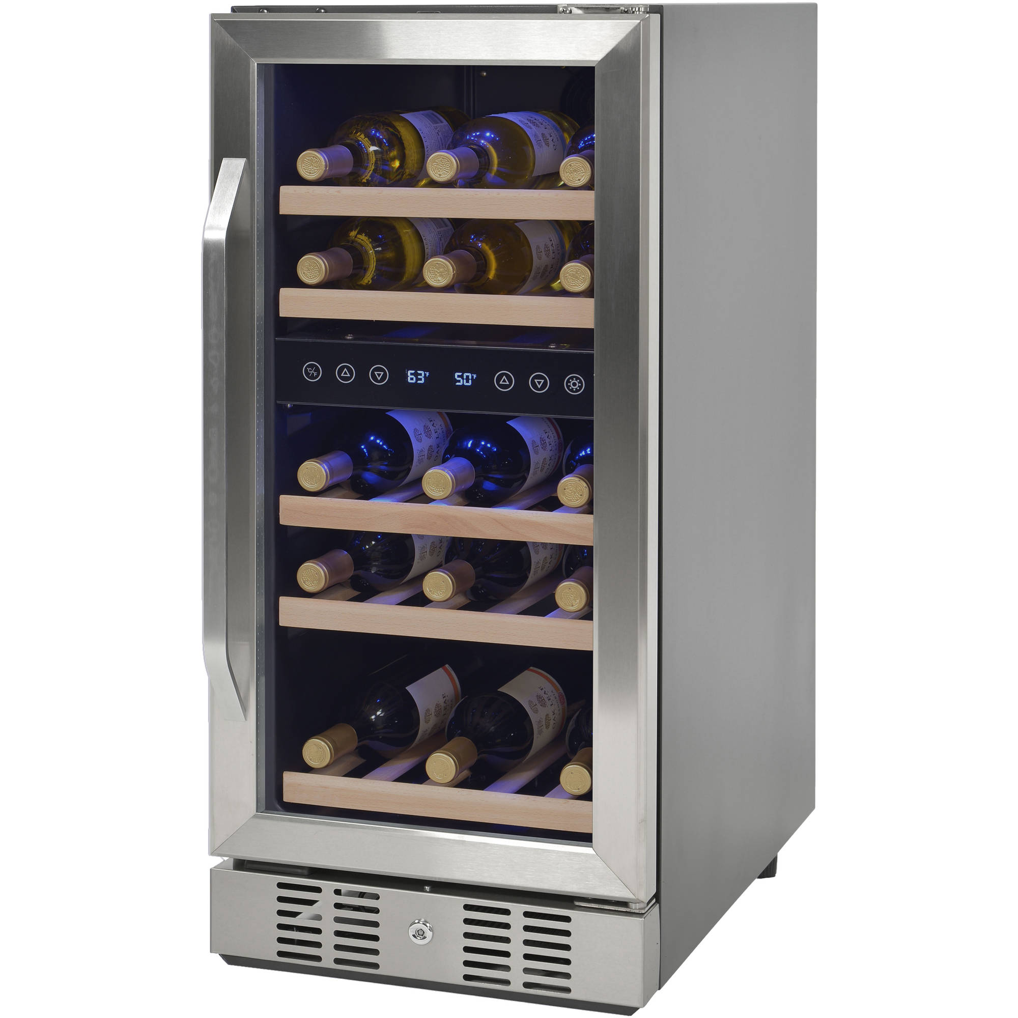 NewAir Compact 29 Bottle Wine Refrigerator, Stainless Steel