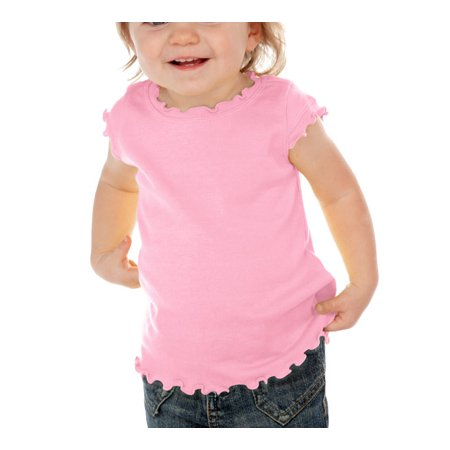 Kavio I1C0252 Infants Lettuce Edge Scoop Neck Cap Sleeve Top-Baby Pink-12M