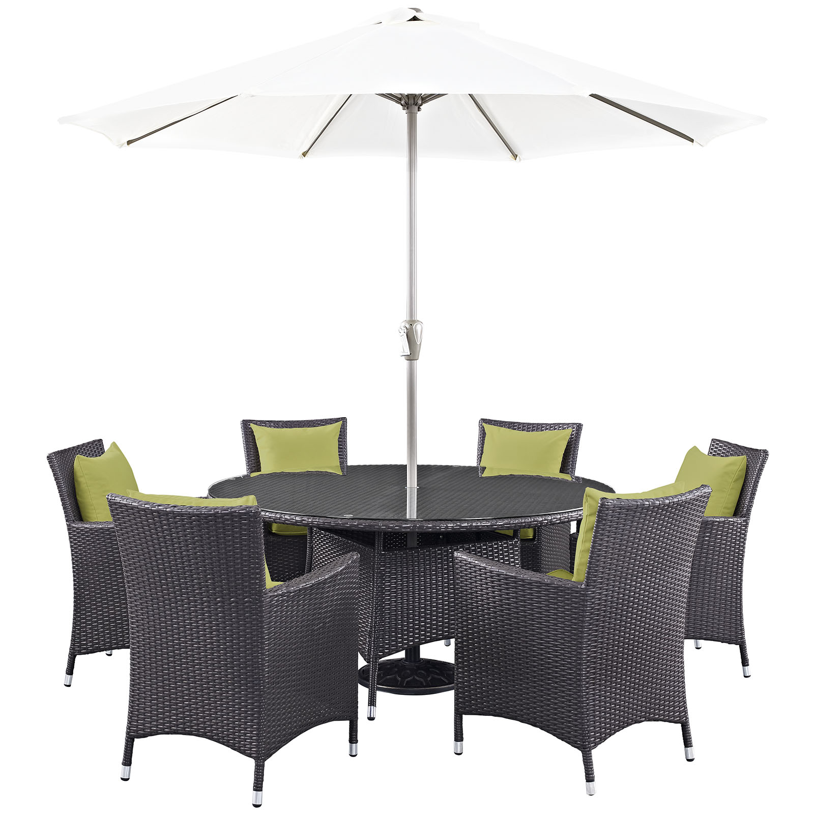Modern Contemporary Urban Design Outdoor Patio Balcony Eight PCS Dining Chairs and Table Set, Green, Rattan
