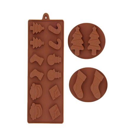 Iced Christmas Cake (Christmas Silicone Cake Decorating Ice Mould Candy Cookies Chocolate Baking Mold)
