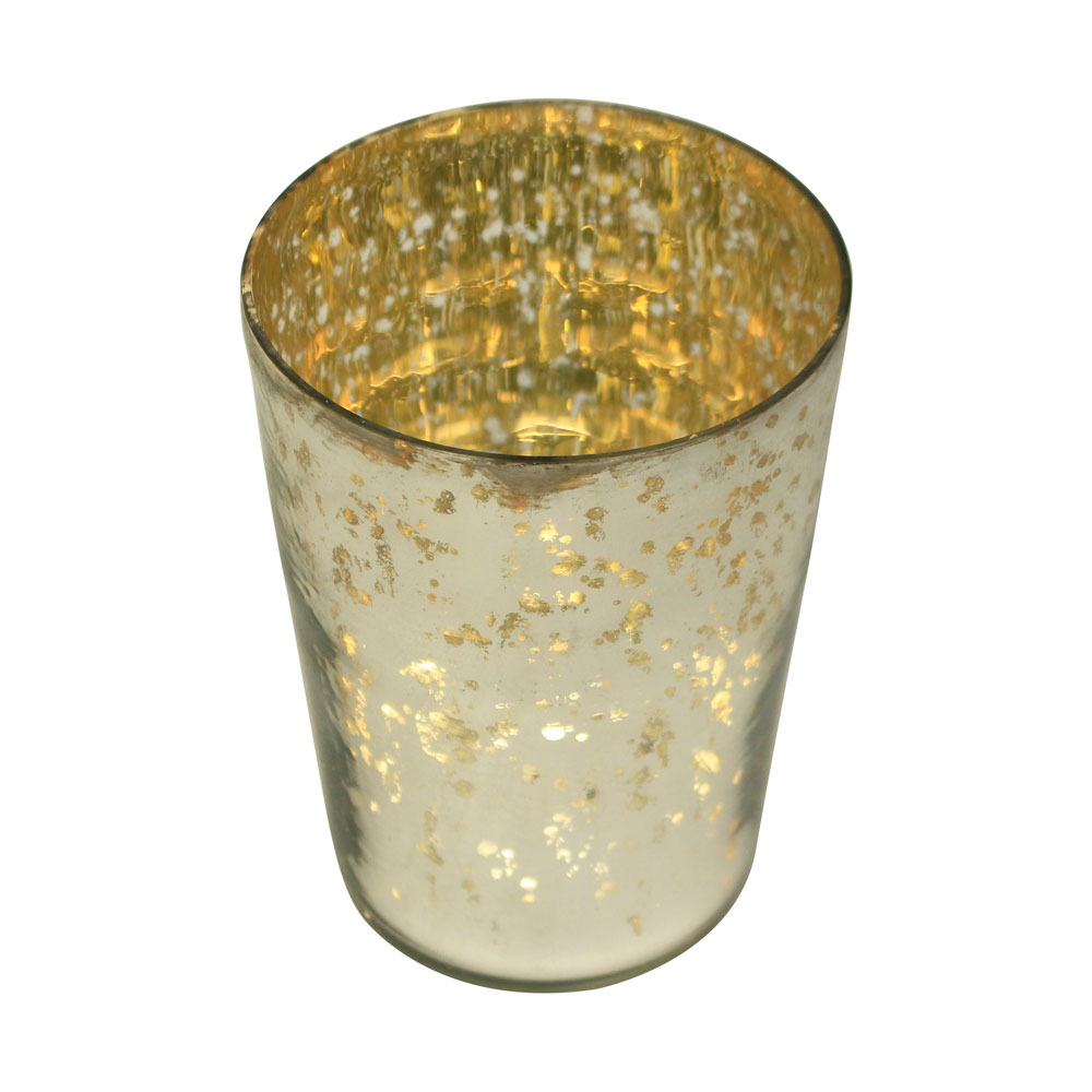 Amber Home Goods Champagne Collection Glass Antique Silver Bottle Votive Large
