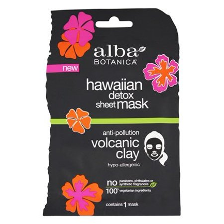 Hawaiian Facial Detox Sheet Mask Anti-Pollution Volcanic Clay - 1 Count by Alba Botanica (pack of