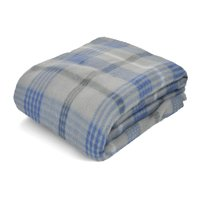 "Mainstays Fleece Gray & Blue Plaid Throw Blanket, 50"" x 60"""