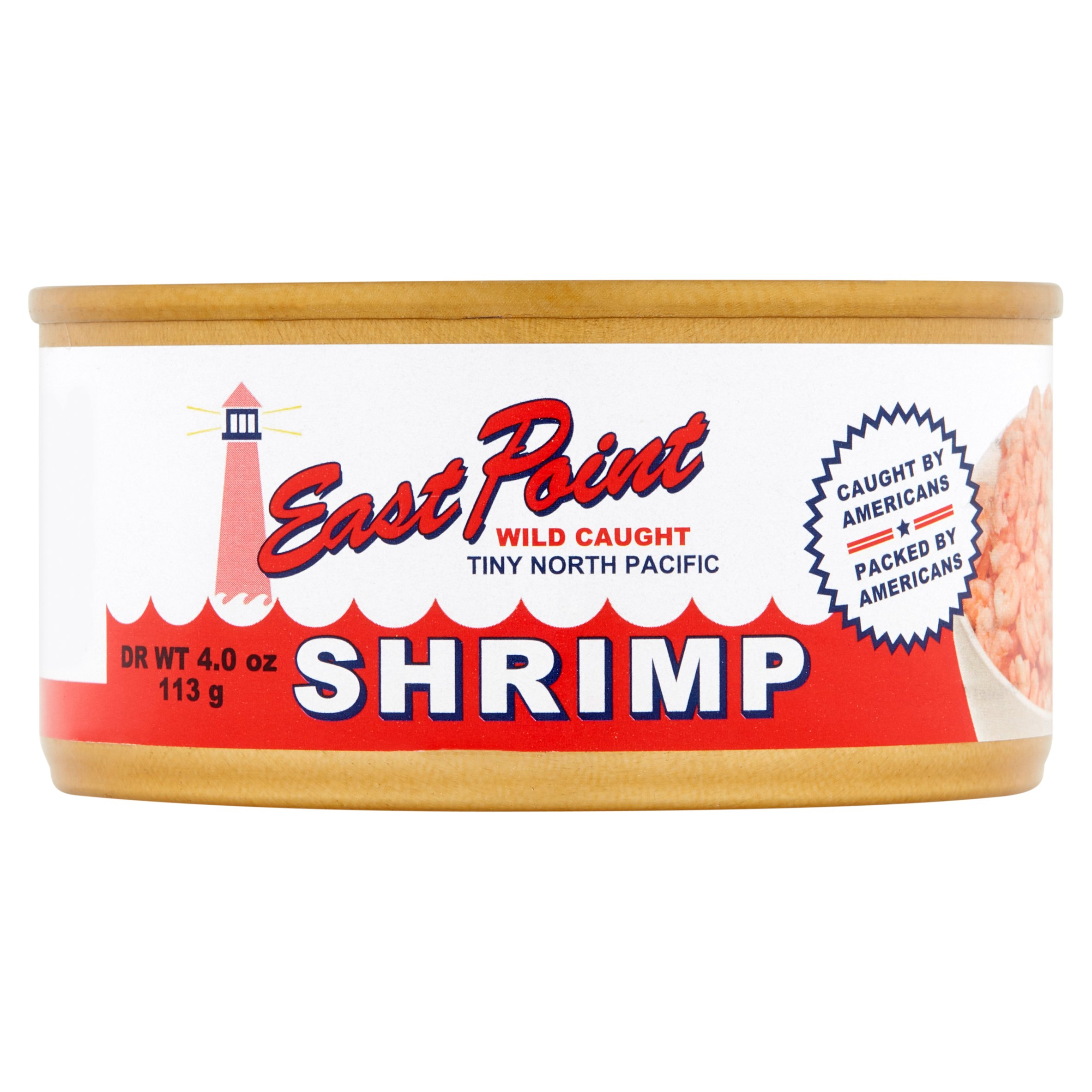 East Point Wild Caught Tiny North Pacific Shrimp, 4.0 oz by Custom Seafood Services, Inc.