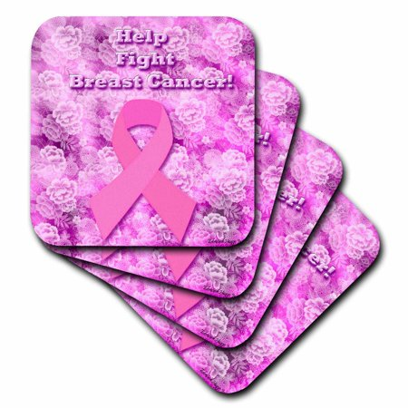 3dRose Help Fight Breast Cancer , Soft Coasters, set of 4